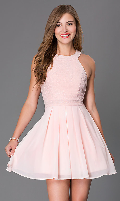 67e6711dd15 Image of Blush Pink Sleeveless Short Cocktail Dress Style  TX-6905742X9I  Front Image