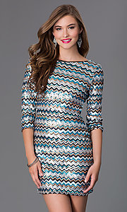Image of Short Sequin 3/4 Length Sleeve Dress by As U Wish Style: AS-I410521J5 Front Image