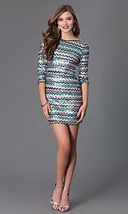 Image of Short Sequin 3/4 Length Sleeve Dress by As U Wish Style: AS-I410521J5 Detail Image 1
