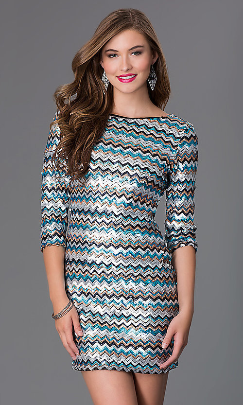 Short Sequin 3 4 Length Sleeve Dress By As U Wish