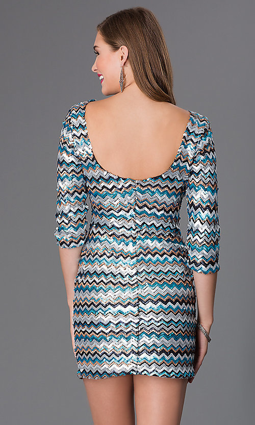 Image of Short Sequin 3/4 Length Sleeve Dress by As U Wish Style: AS-I410521J5 Back Image