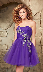 Image of short strapless Mori Lee baby-doll dress. Style: ML-9344 Detail Image 2