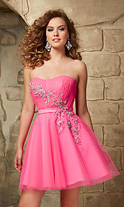 Image of short strapless Mori Lee baby-doll dress. Style: ML-9344 Front Image