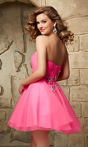 Image of short strapless Mori Lee baby-doll dress. Style: ML-9344 Back Image