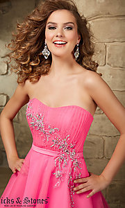 Image of short strapless Mori Lee baby-doll dress. Style: ML-9344 Detail Image 1