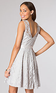 Image of v-back lace overlay party dress. Style: SF-8760w Back Image