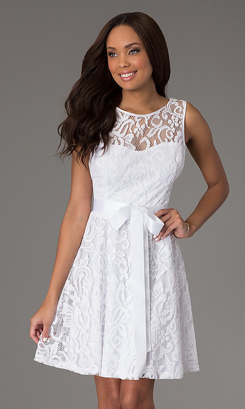 Image of v-back lace overlay party dress. Style: SF-8760w Front Image
