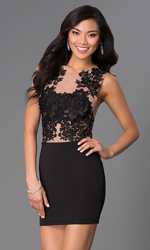 Image of Short Sleeveless Illusion Top Dress  Style: CQ-3870DK Front Image