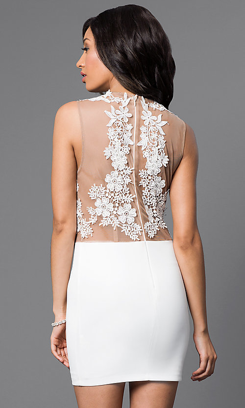 Image of Short Sleeveless Illusion Top Dress  Style: CQ-3870DK Back Image