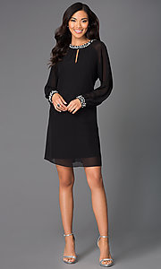 Image of long-sleeve short chiffon dress with pearl accents Style: IT-118914 Detail Image 1