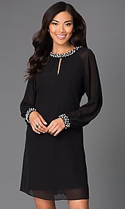 Image of long-sleeve short chiffon dress with pearl accents Style: IT-118914 Front Image