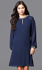 Image of long-sleeve short chiffon dress with pearl accents Style: IT-118914 Detail Image 2