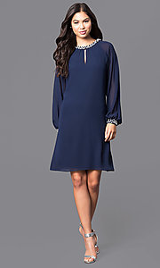 Image of long-sleeve short chiffon dress with pearl accents Style: IT-118914 Detail Image 3