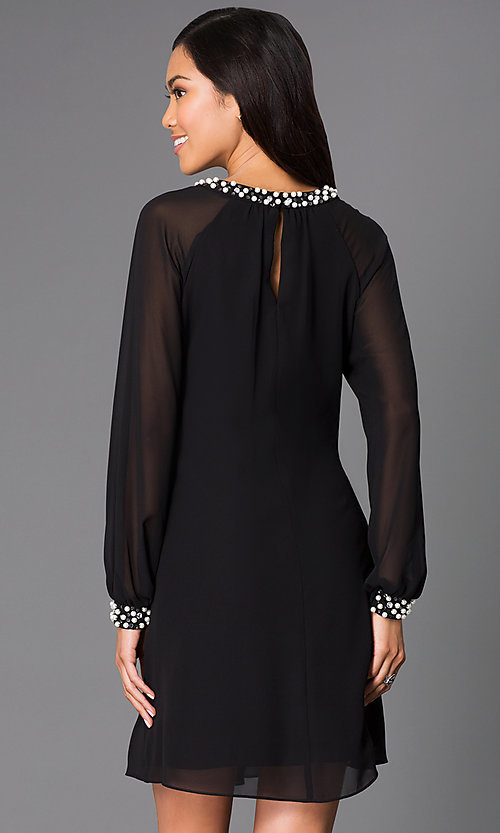 Image of long-sleeve short chiffon dress with pearl accents Style: IT-118914 Back Image
