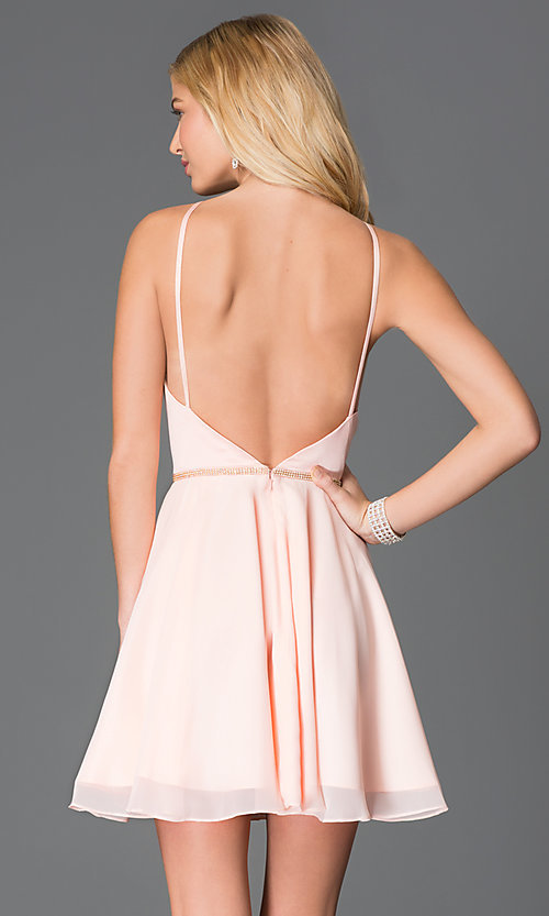Image of Short High Neck Open Back Dress by Faviana Style: FA-7652 Back Image