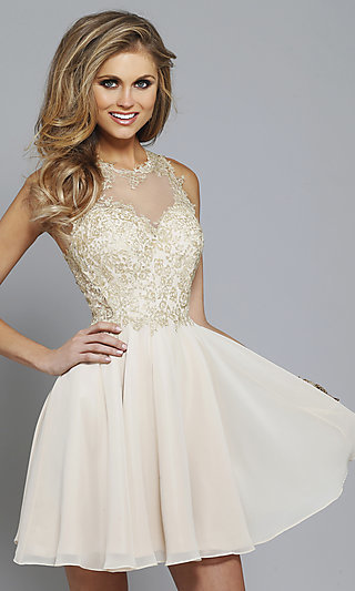 Faviana Short Prom Dress, Party Dress with Lace