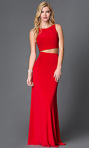 Image of Two Piece Sheer Back Long Dress Style: DJ-1817 Front Image