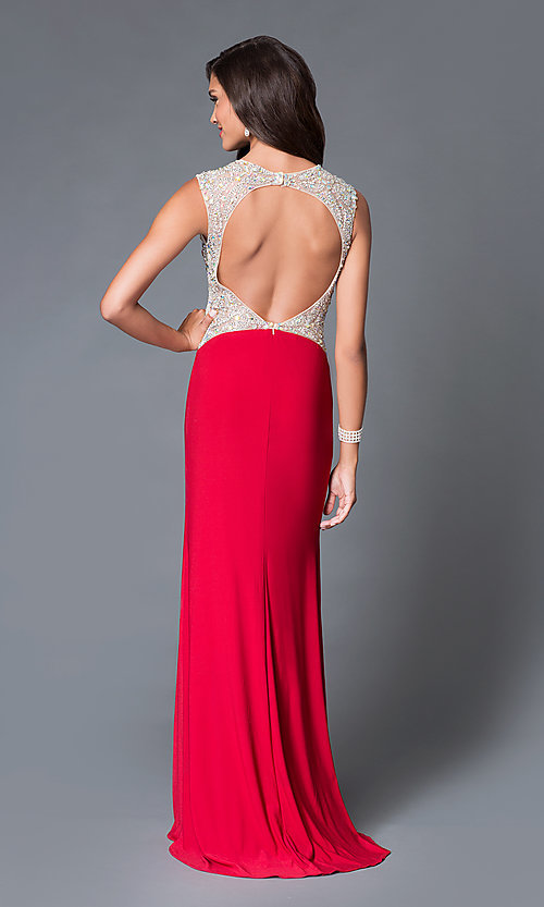 Image of Jewel Encrusted Floor Length Gown Style: DJ-1659 Back Image