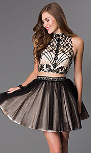 Image of black mock two-piece short prom dress Style: DJ-2179 Front Image