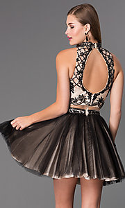 Image of black mock two-piece short prom dress Style: DJ-2179 Back Image