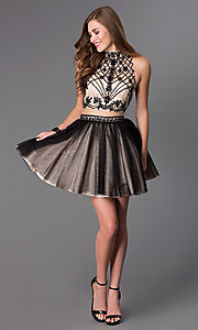 Image of black mock two-piece short prom dress Style: DJ-2179 Detail Image 1