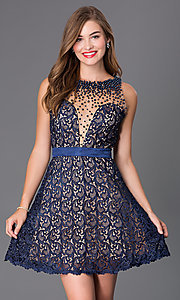 Image of navy-blue lace short backless party dress. Style: DJ-2000 Front Image