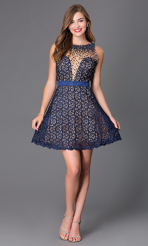 Image of navy-blue lace short backless party dress. Style: DJ-2000 Detail Image 1