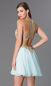 Image of Short Sleeveless Aqua Dress with Lace Bodice Style: BL-PG007S Back Image