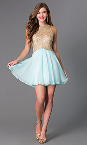 Image of Short Sleeveless Aqua Dress with Lace Bodice Style: BL-PG007S Detail Image 1