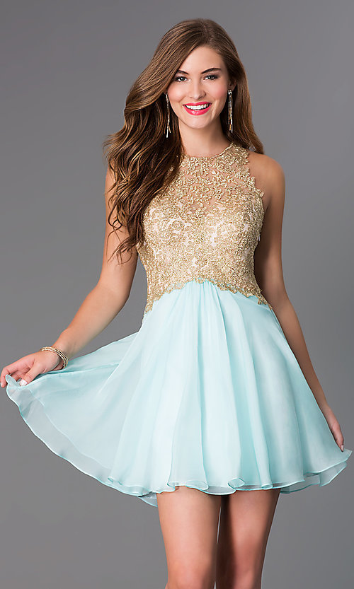 Image of Short Sleeveless Aqua Dress with Lace Bodice Style: BL-PG007S Front Image