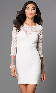 Image of Short Ivory Lace Long Sleeve Dress Style: EM-DJH-1714-120 Front Image