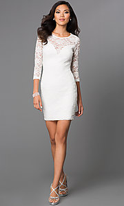 Image of Short Ivory Lace Long Sleeve Dress Style: EM-DJH-1714-120 Detail Image 1