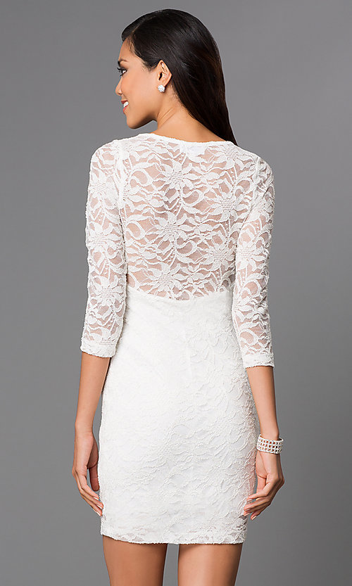 Image of Short Ivory Lace Long Sleeve Dress Style: EM-DJH-1714-120 Back Image