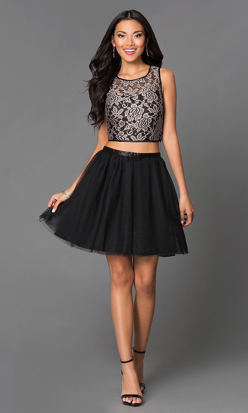 Lace Two Piece Black Party Dress