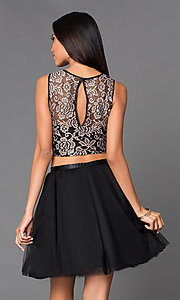 Image of  Black Short Two Piece Sleeveless A-Line Dress with Gold Lace Bodice Style: EM-EFN-2215-030 Back Image