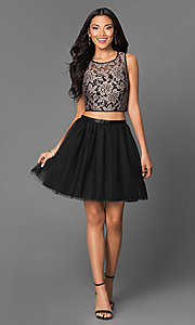 Image of  Black Short Two Piece Sleeveless A-Line Dress with Gold Lace Bodice Style: EM-EFN-2215-030 Detail Image 1