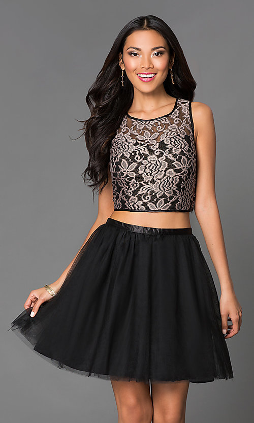 Image of  Black Short Two Piece Sleeveless A-Line Dress with Gold Lace Bodice Style: EM-EFN-2215-030 Front Image