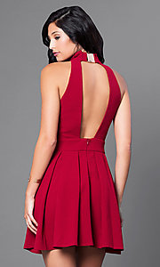 Image of short high-neck backless party dress. Style: CQ-2442ADW Back Image
