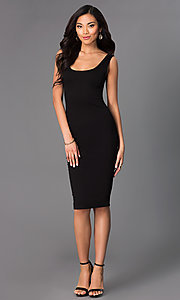 Image of sleeveless midi-length tight party dress. Style: CH-2570 Detail Image 1