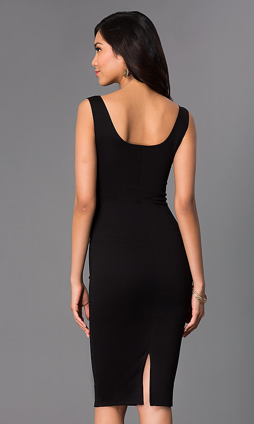 Image of sleeveless midi-length tight party dress. Style: CH-2570 Back Image