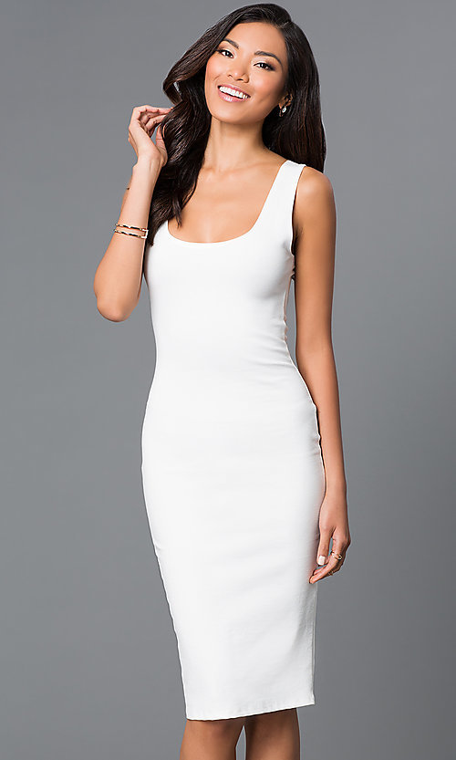 Image of sleeveless midi-length tight party dress. Style: CH-2570 Detail Image 2