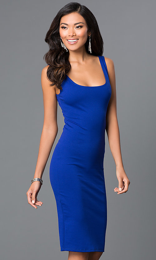 Image of sleeveless midi-length tight party dress. Style: CH-2570 Detail Image 3