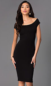 Image of backless off-the-shoulder knee-length party dress. Style: CH-2569 Front Image
