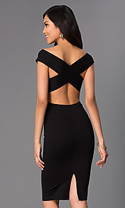 Image of backless off-the-shoulder knee-length party dress. Style: CH-2569 Back Image