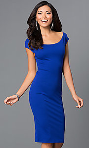Image of backless off-the-shoulder knee-length party dress. Style: CH-2569 Detail Image 3