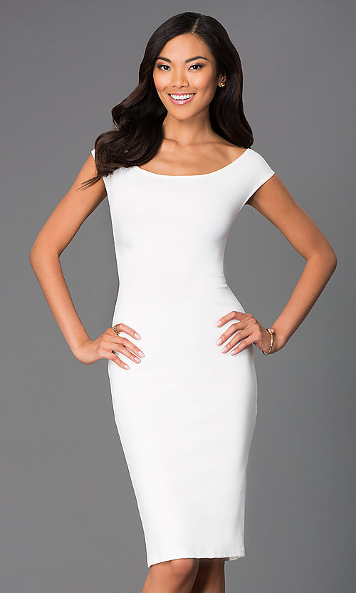 Image of backless off-the-shoulder knee-length party dress. Style: CH-2569 Detail Image 2
