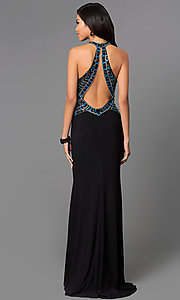 Image of long backless sequined black halter prom gown Style: CD-GL-G432 Back Image