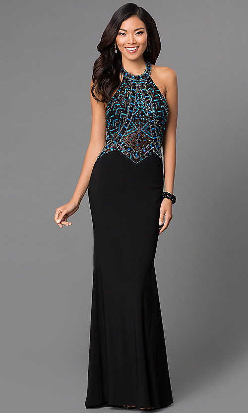 Image of long backless sequined black halter prom gown Style: CD-GL-G432 Front Image