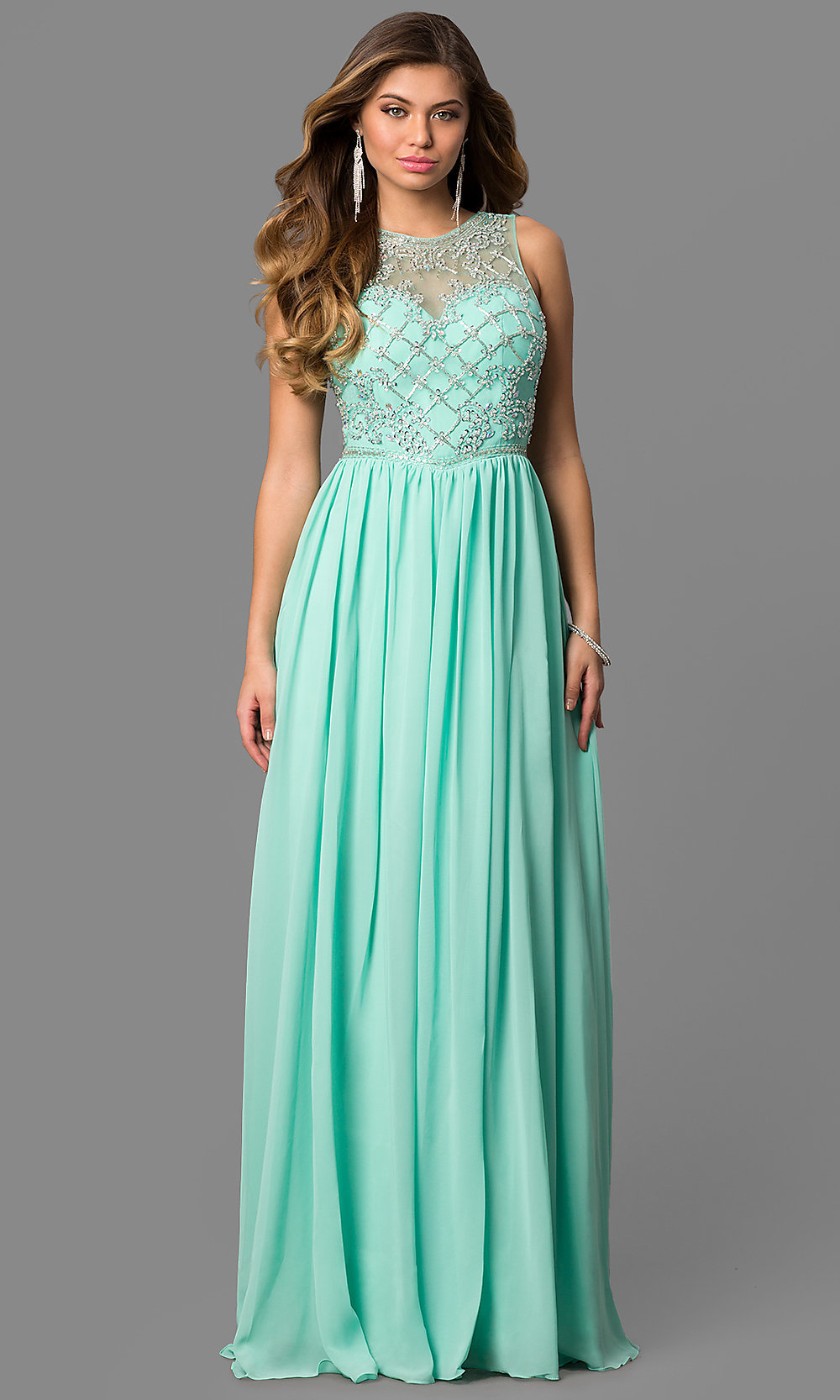 Long Beaded Gown, Sleeveless Illusion Bodice