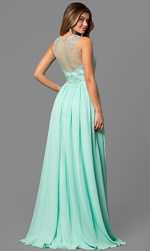 Image of Sleeveless Illusion Bodice Beaded Long Gown Style: CD-GL-G411 Back Image